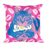 Disco Tabby Throw Pillow