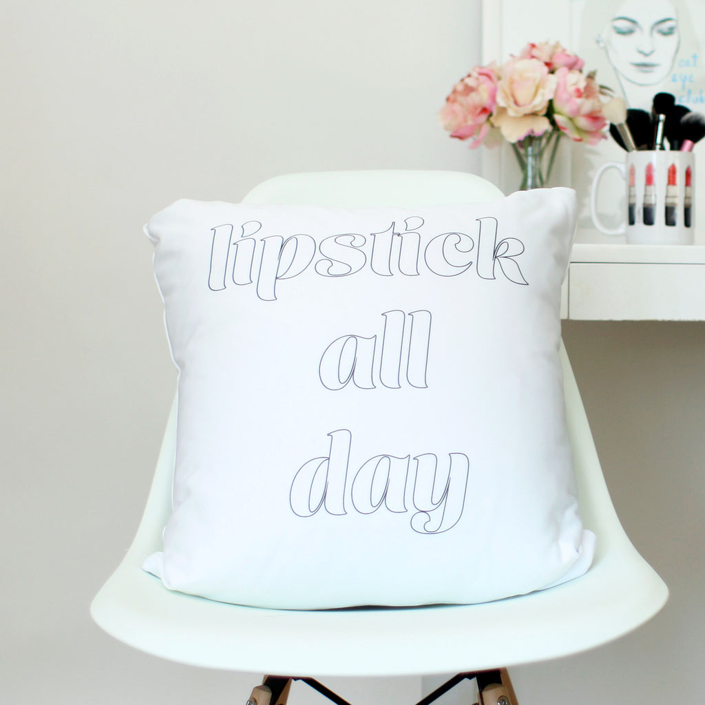 Lipstick All Day Throw Pillow