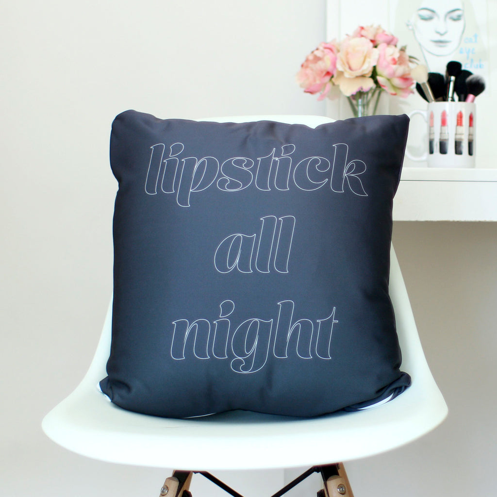 Lipstick All Night Throw Pillow