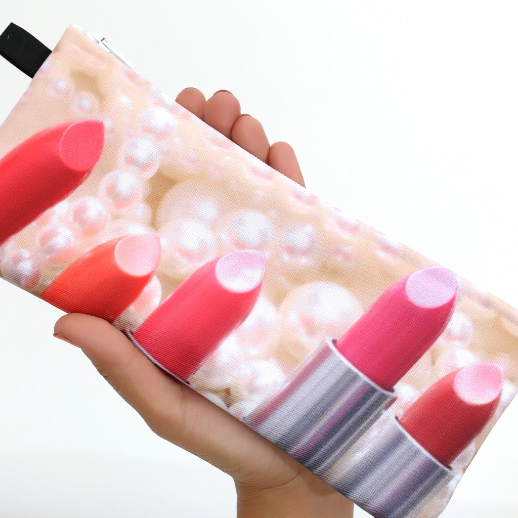 Lipstick and Pearls Makeup Bag
