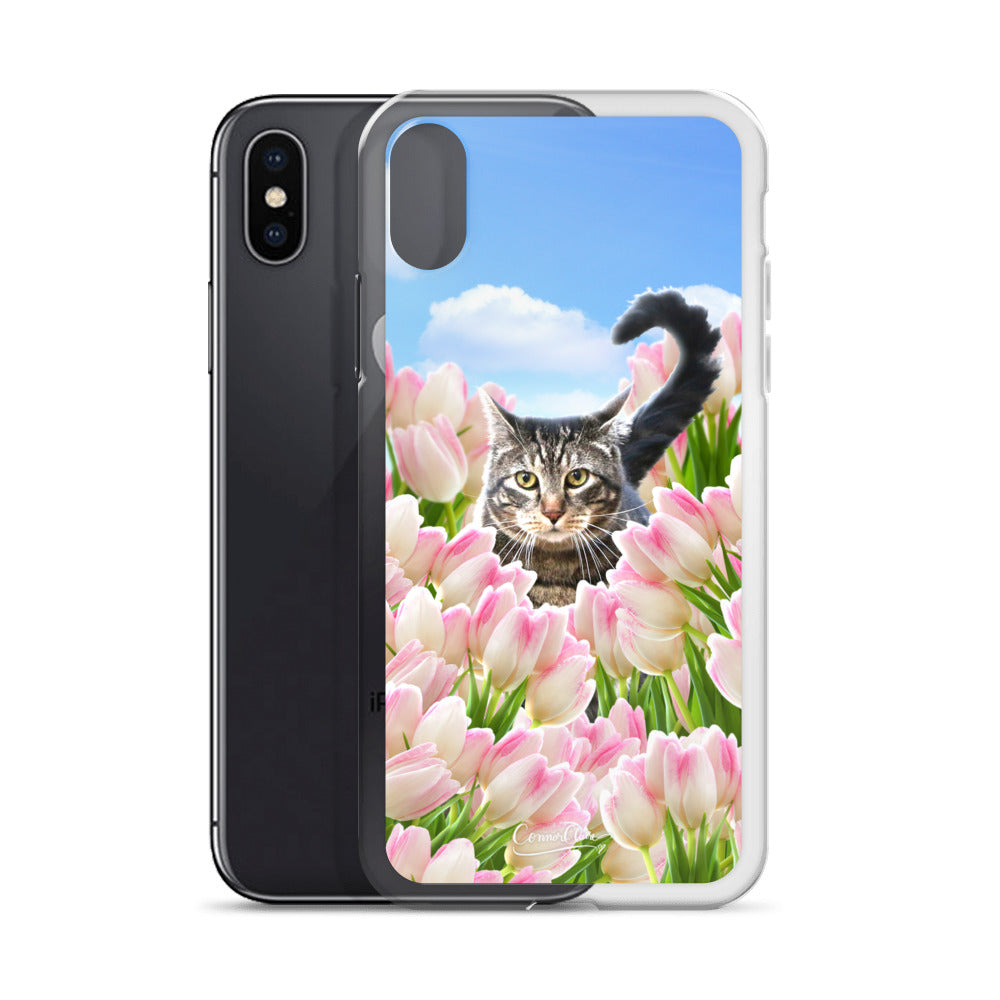 Tabby Tiptoe Through the Tulips iPhone Case