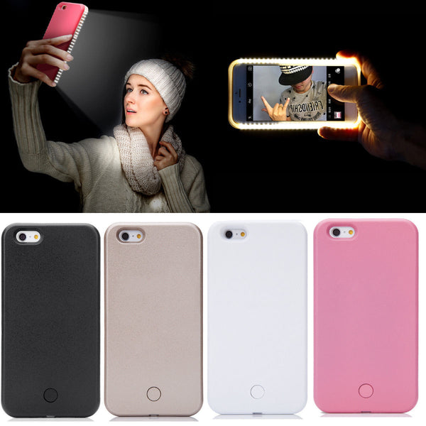 best website 8e6a0 f58aa LED Light Up Selfie Phone Back Cover Case For iPhone 6 6S Plus