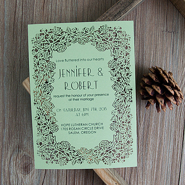 Exquisite Flat Laser Cut Wedding Invitations