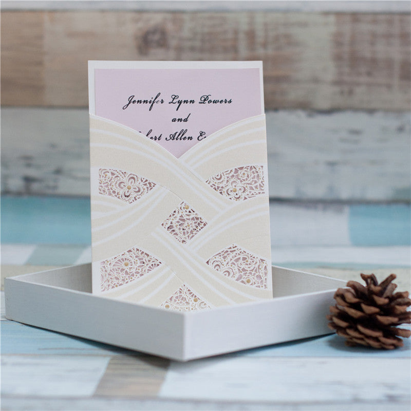 Luxurious Wedding Invitation Card With Laser Cut Pearl Pattern