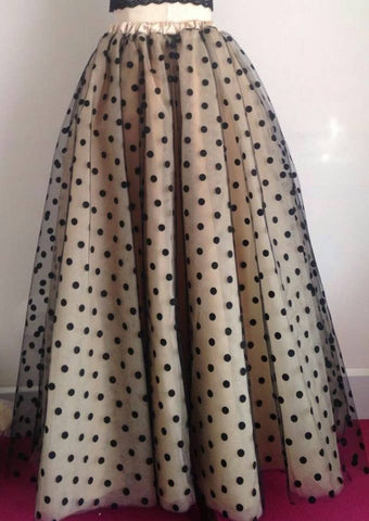 The Retro Glam Polka Dot Tulle & Organza Full Length Ball Skirt