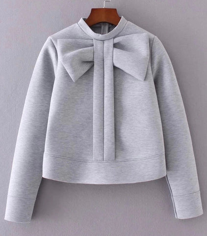 Heather Gray Bow Neoprene + Cotton Top