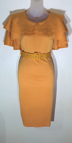 """The Classic"" Triple Cape Dress in Mustard"