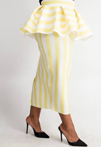 The Fashionista Striped PLUS Peplum Skirt