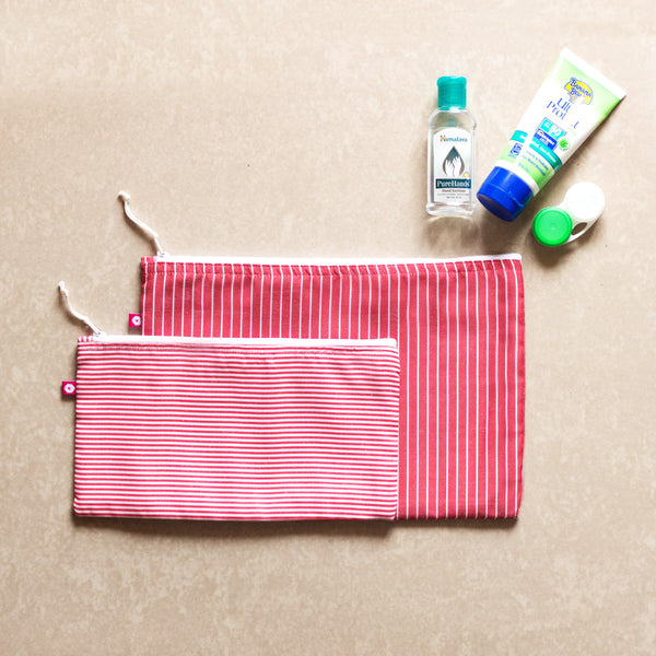 Candy Stripe Pouches (set of 2) - Pomogrenade { Ethical fashion}