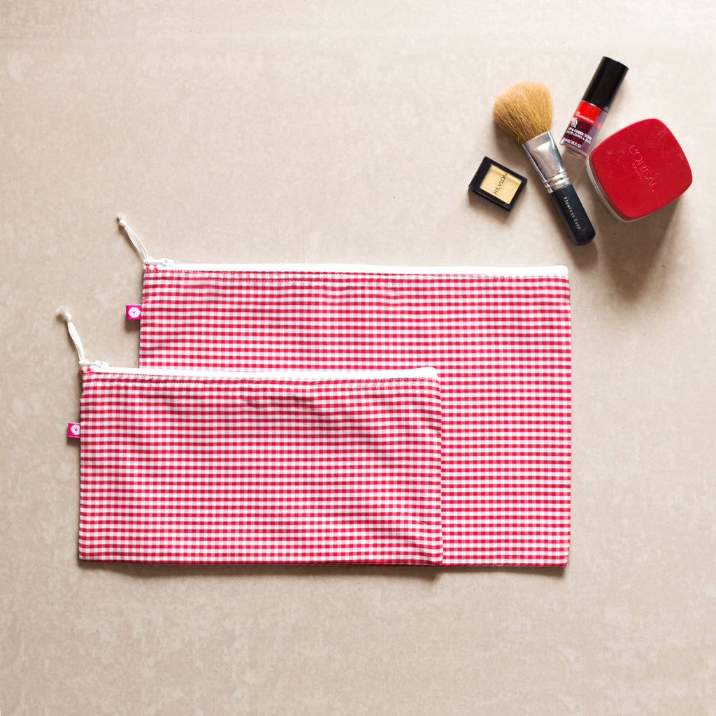 Gingham Pouches (set of 2) - Pomogrenade { Ethical fashion}
