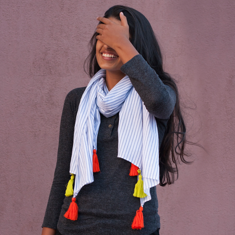 Note Pad Stripe Scarf With Tassels - Pomogrenade - Ethical fashion