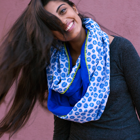 Coin Print Infinity Scarf - Blue & White