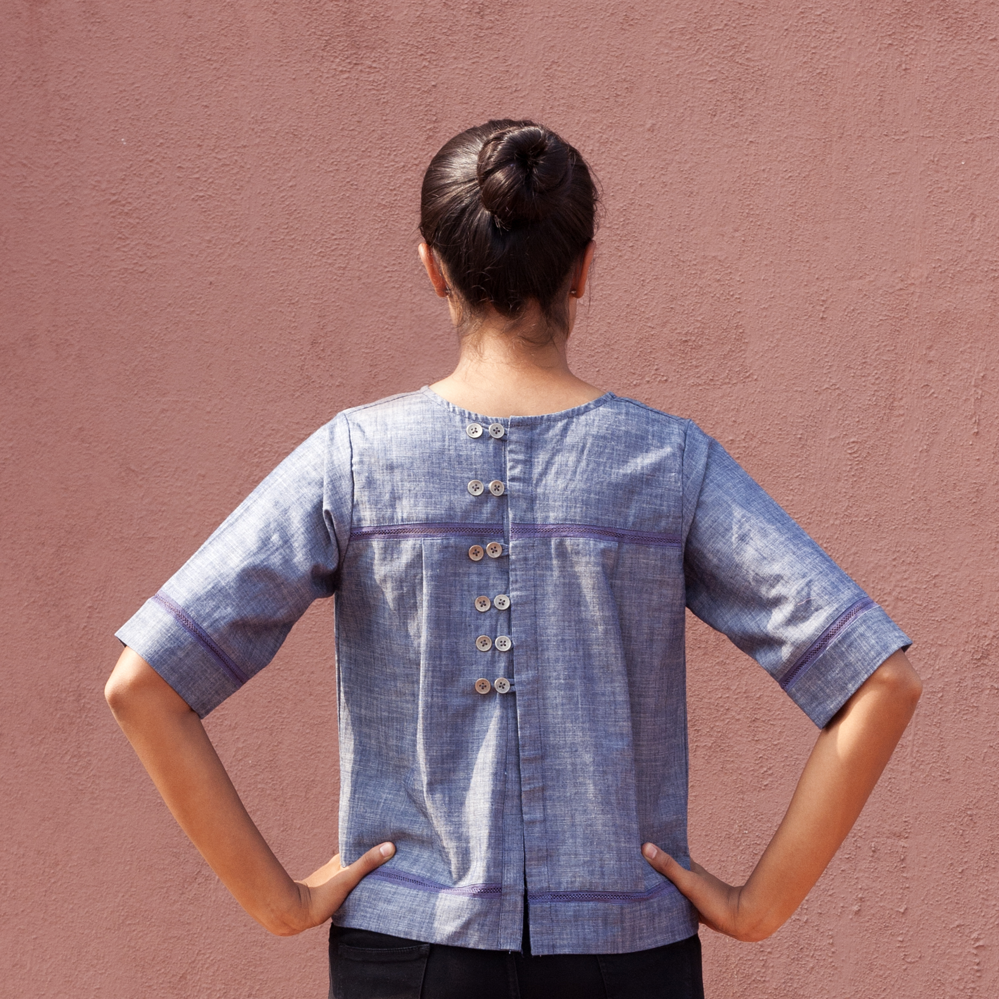 Peek-A-Boo Back Open Top - Blue Chambray - Pomogrenade { Ethical fashion}