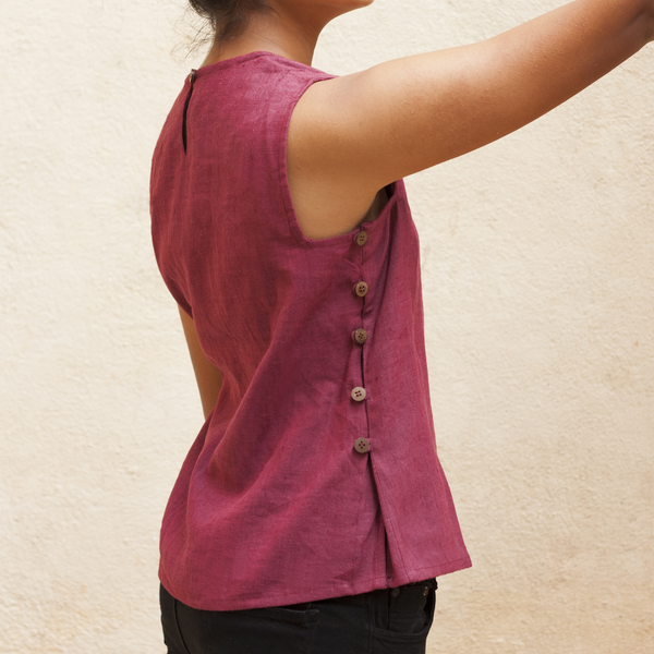 Adjustable Side Button Top - Burgundy - Pomogrenade - Ethical fashion