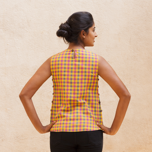 Adjustable Side Button Top - Madras Check - Pomogrenade - Ethical fashion
