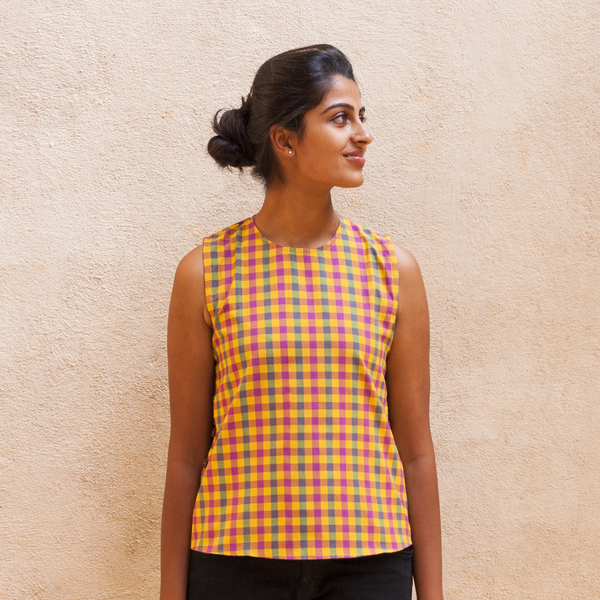 Adjustable Side Button Top - Multi-Colour Checked