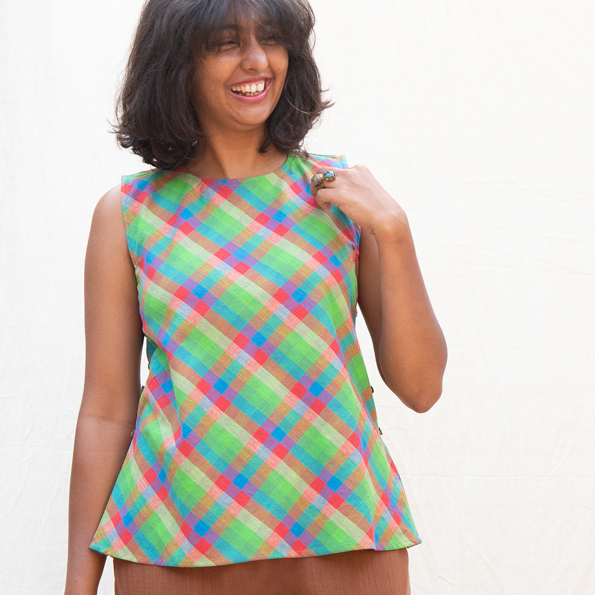 Madras Checks Side Button Top