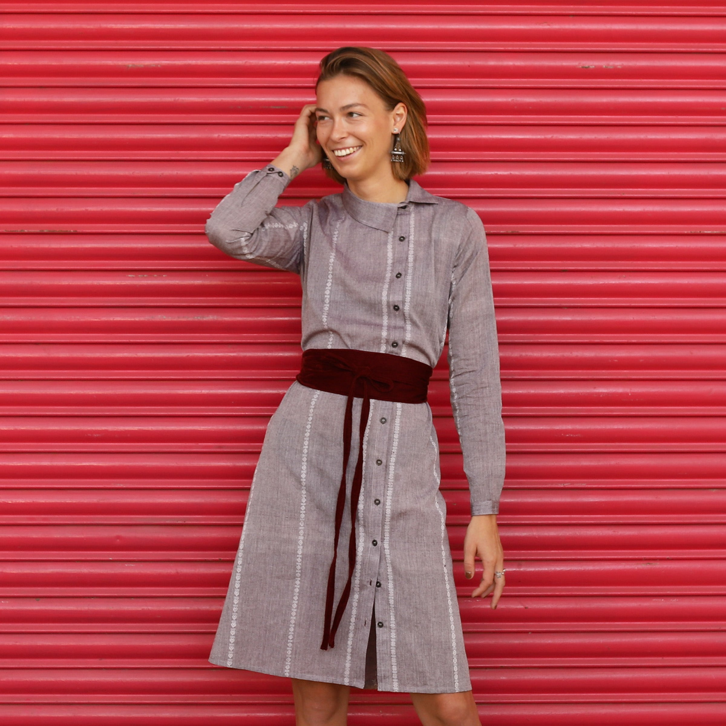 Pomogrenade_Grey shirt dress_Front