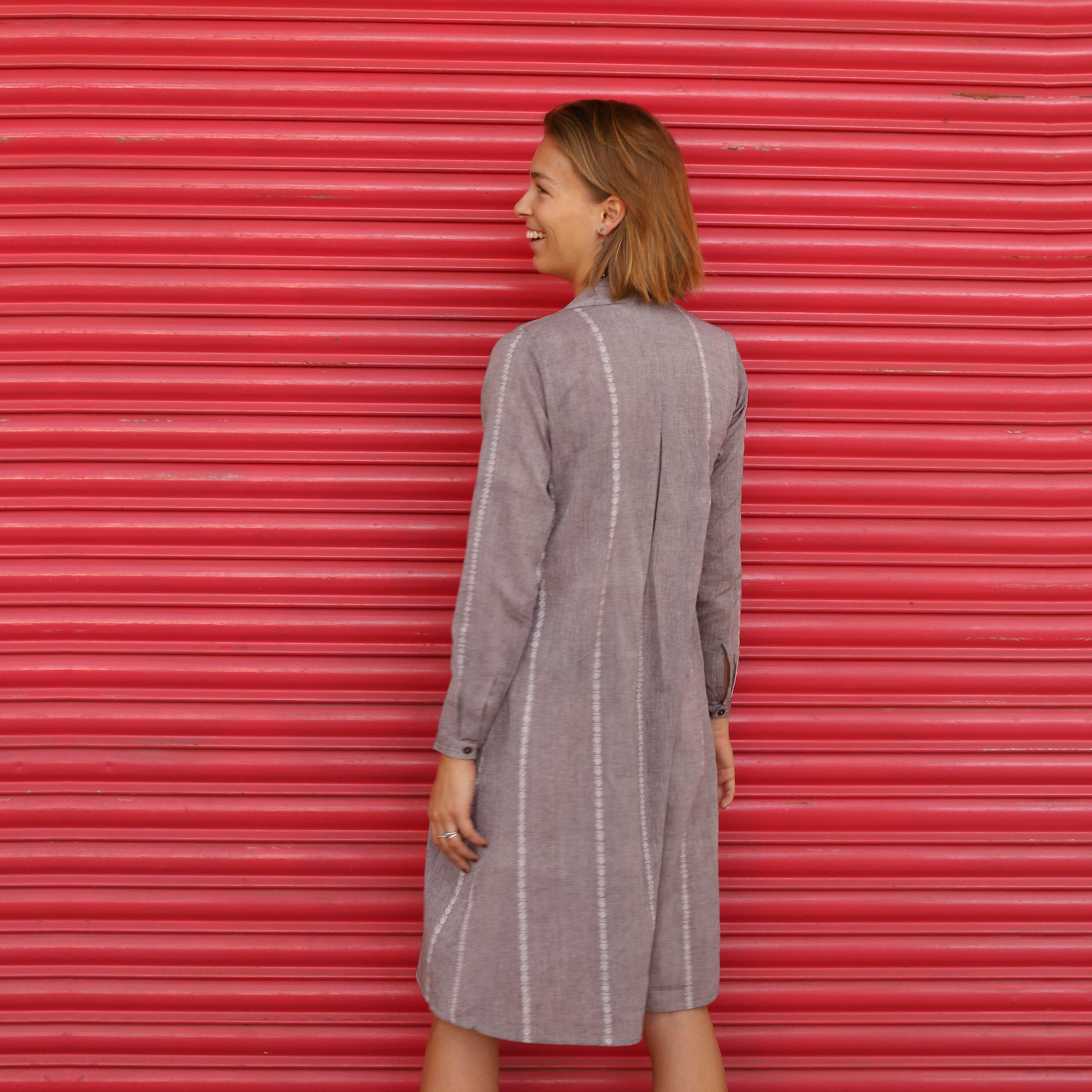 Lilac Grey Upgraded Shirt Dress