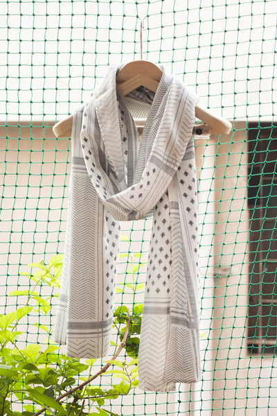 Warrior Print Scarf - White - Pomogrenade  Ethical fashion