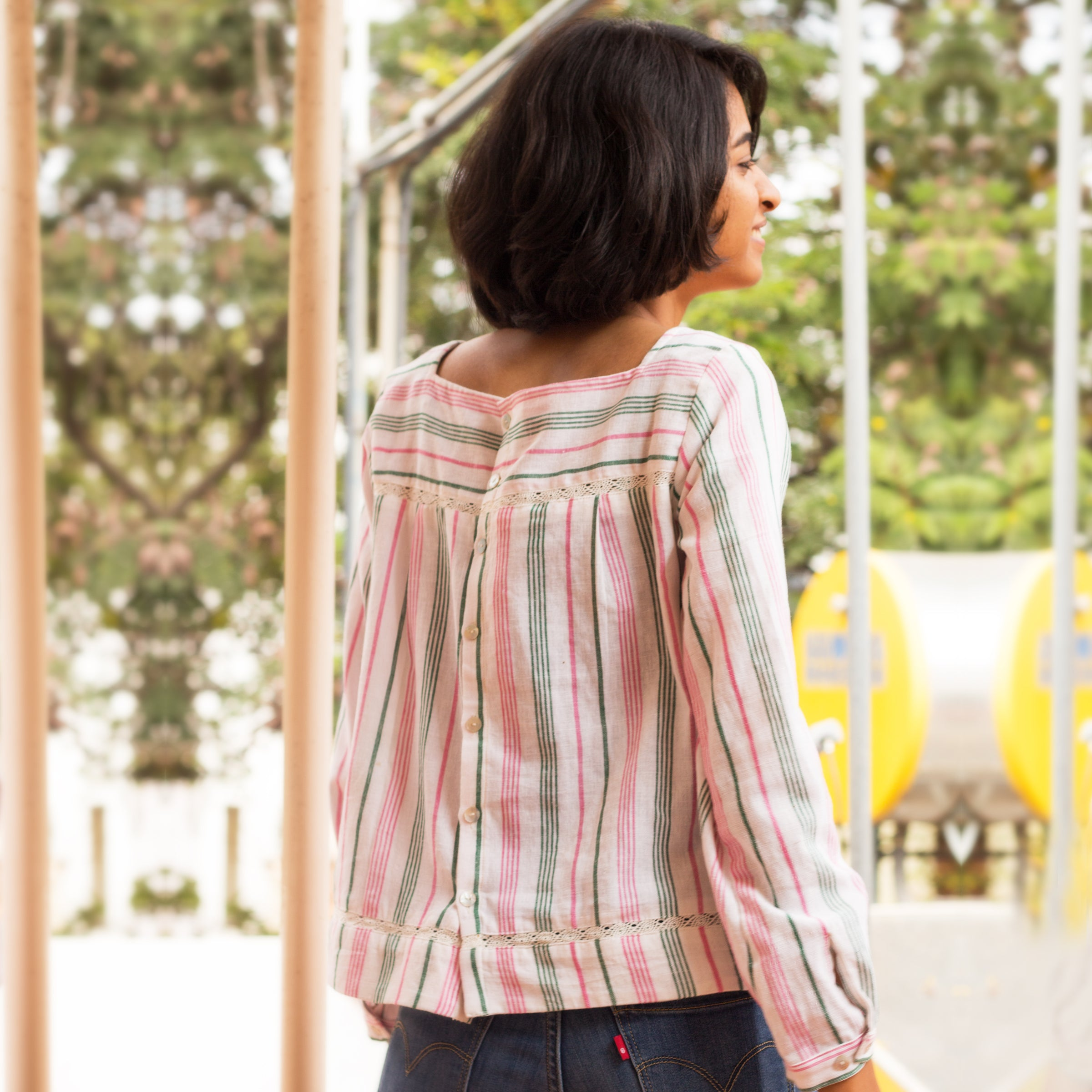 Pomogrenade_Peekaboo Top Multicolour stripes_Back