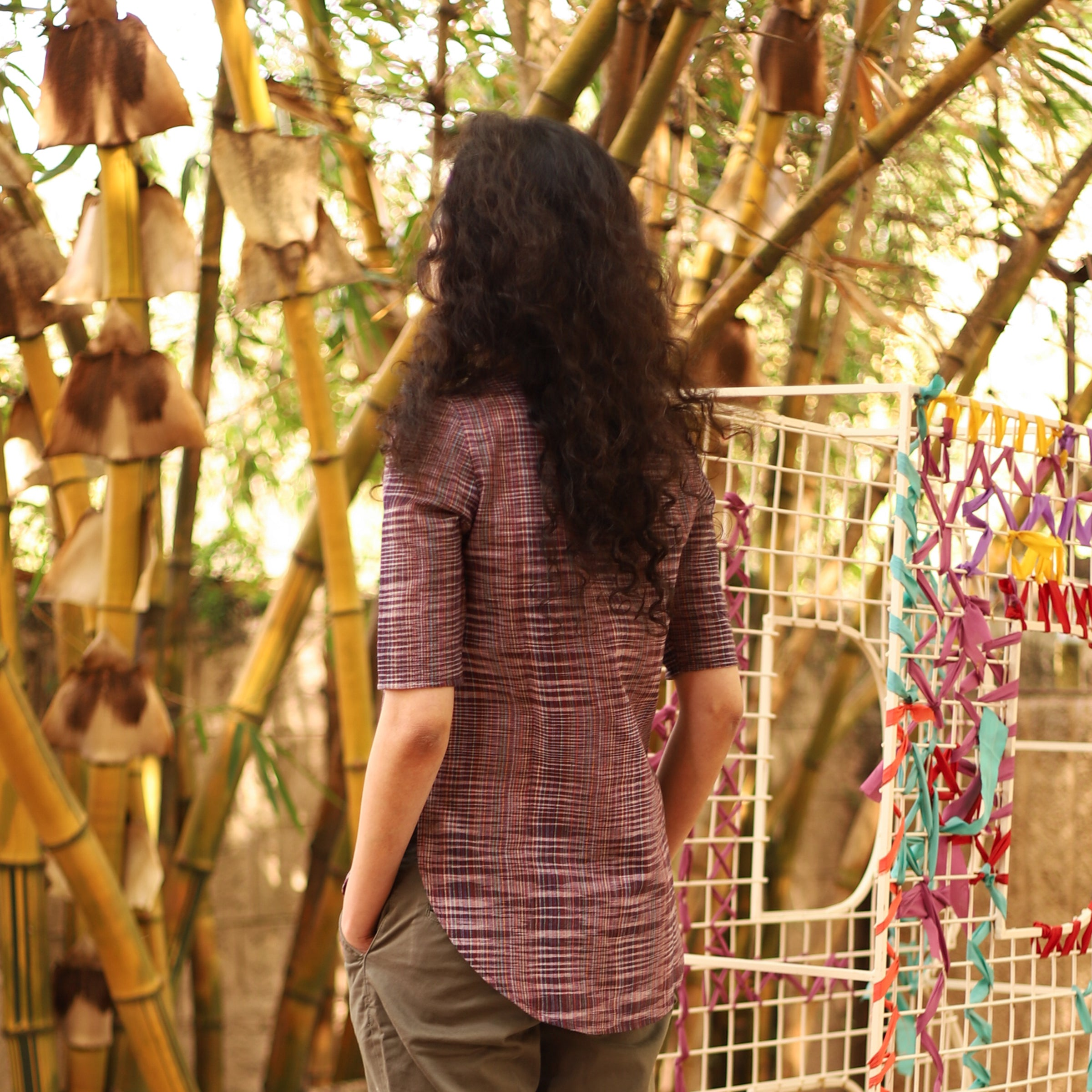 Pomogrenade_Purple Khadi Tunic Top_Back