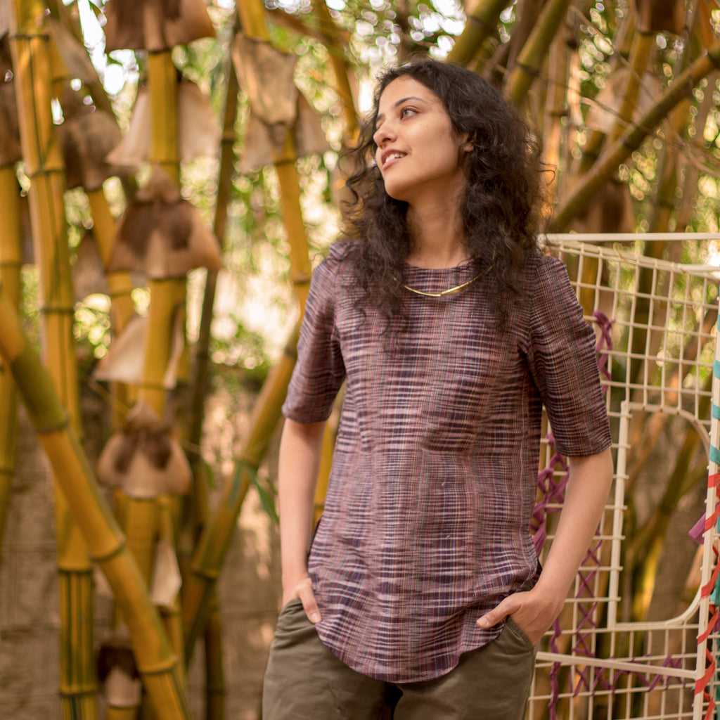 Pomogrenade_Purple Khadi Tunic Top_Front