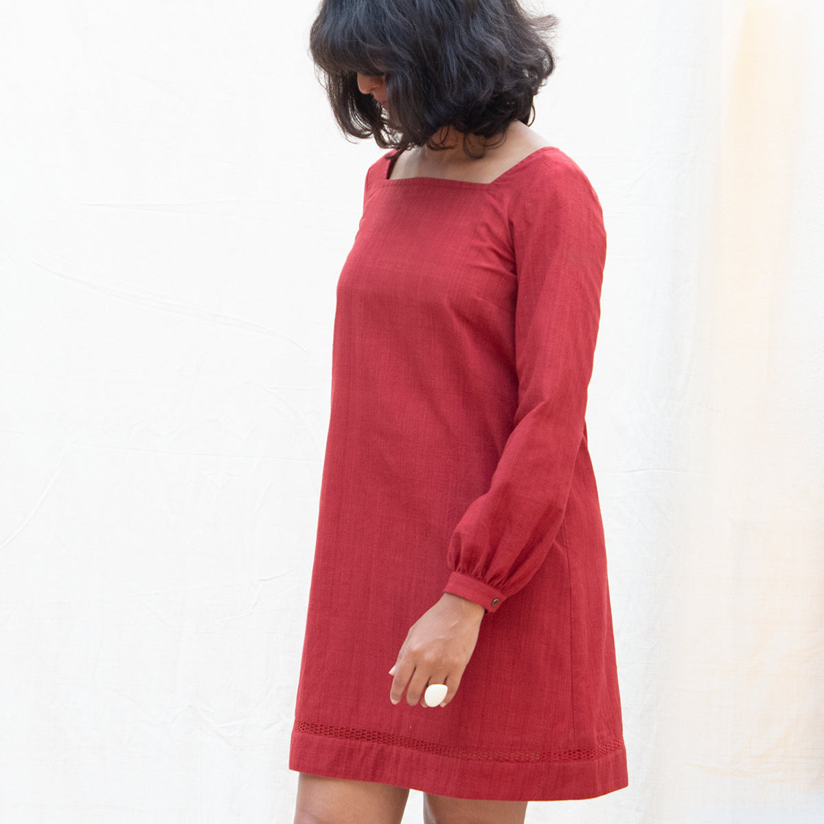 Rustic Red Back Button Dress