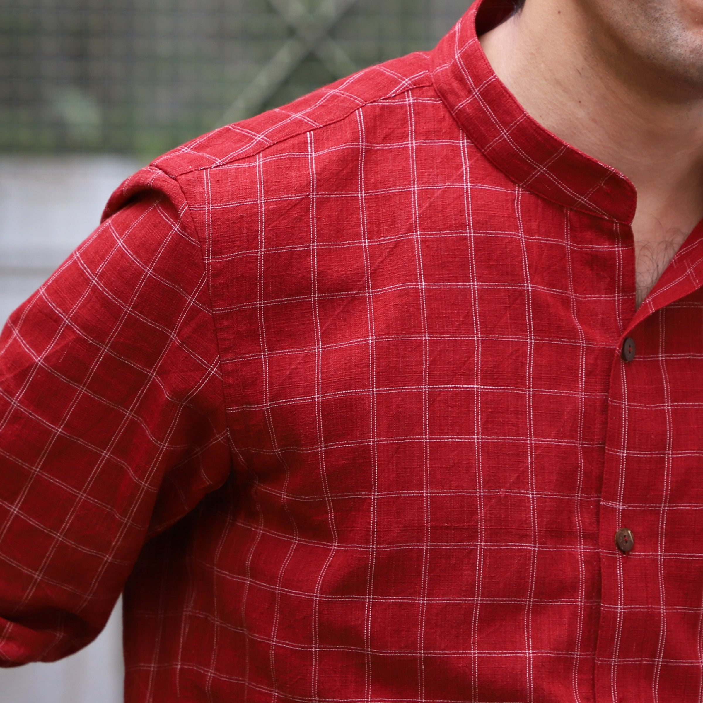Red checks shirt Mens