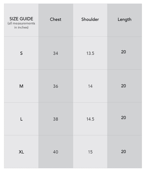 Crop shirt size chart