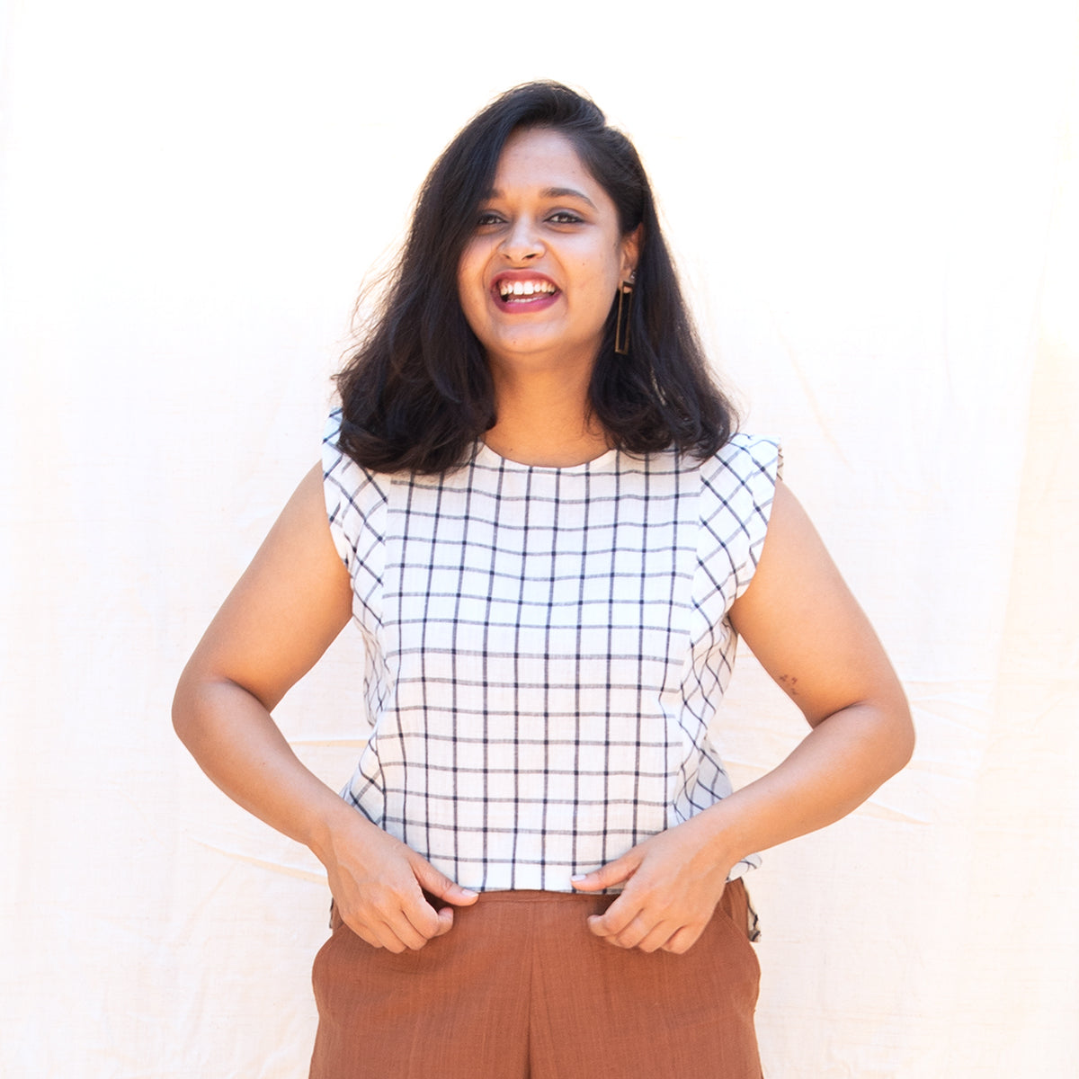 White Grid Bias Boxy Top