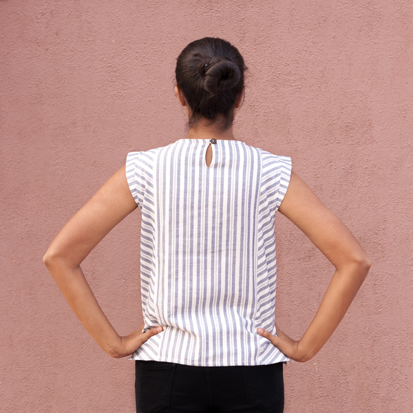 Bias Boxy Top - White - Pomogrenade - Ethical fashion}