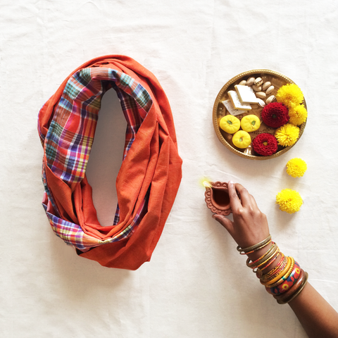 Plaid Infinity Scarf - Orange
