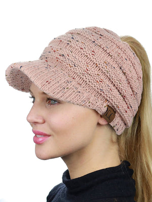 CC Messy Bun Knit Cap with Brim - Rocket Shirts