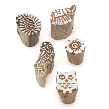 Set of 5 Mini Print Blocks - Elephant, Paisley, Bird, Flower, Owl