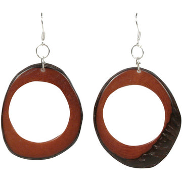 Vegetable Ivory Donut Earrings - Brown