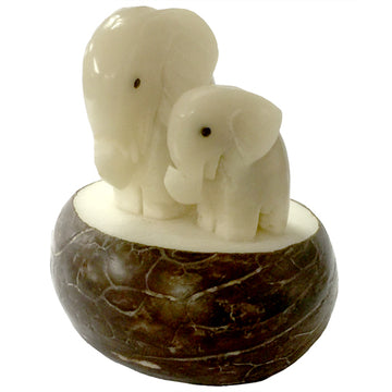 Mama & Baby Elephant Figurine - Vegetable Ivory