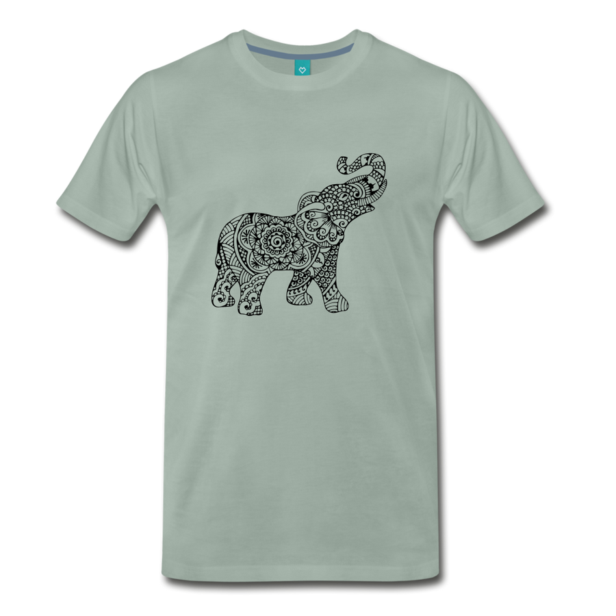 Men's Premium Elephant T-Shirt - steel green