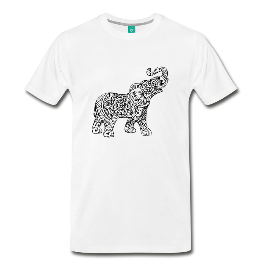 Men's Premium Elephant T-Shirt - white