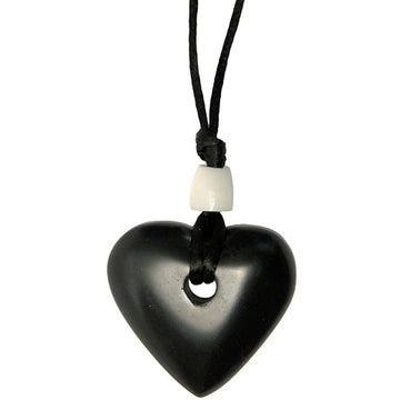 Fair Trade Heart Shaped Coal & Tagua Nut Pendant