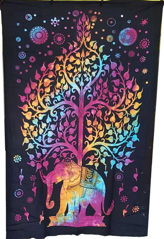 An Elephant's Life (Tie Dye) Tapestry