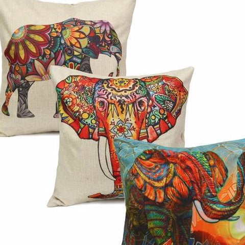 Vibrant Elephant Cotton Cushion Cover - Elephant Head