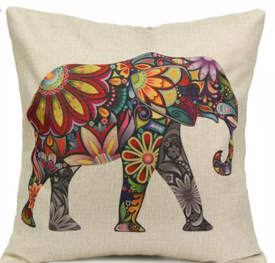 Vibrant Elephant Cotton Cushion Cover - Floral Elephant