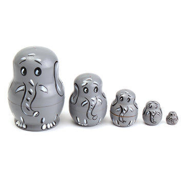 Wooden Babushka Matryoshka Elephant Doll Set
