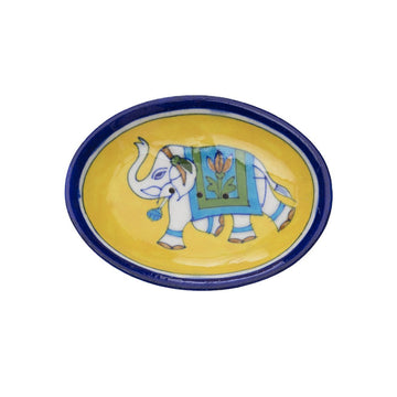 Fair Trade Blue Pottery Elephant Soap Dish - Yellow