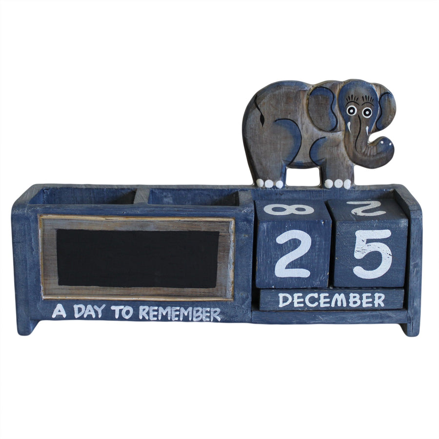 Day Counter & Elephant Pen Holder - Blue
