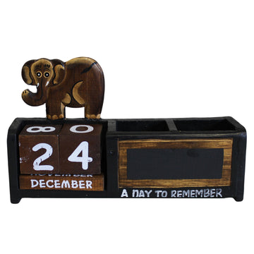 Day Counter & Elephant Pen Holder - Brown