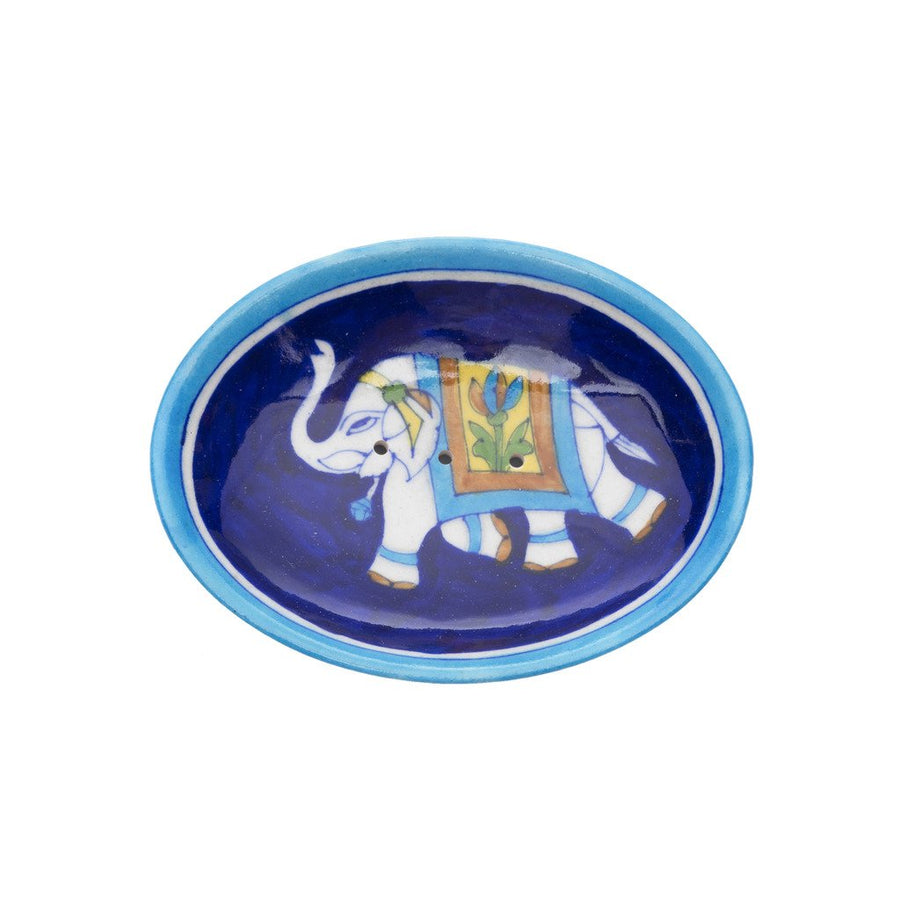 Fair Trade Blue Pottery Elephant Soap Dish - Indigo