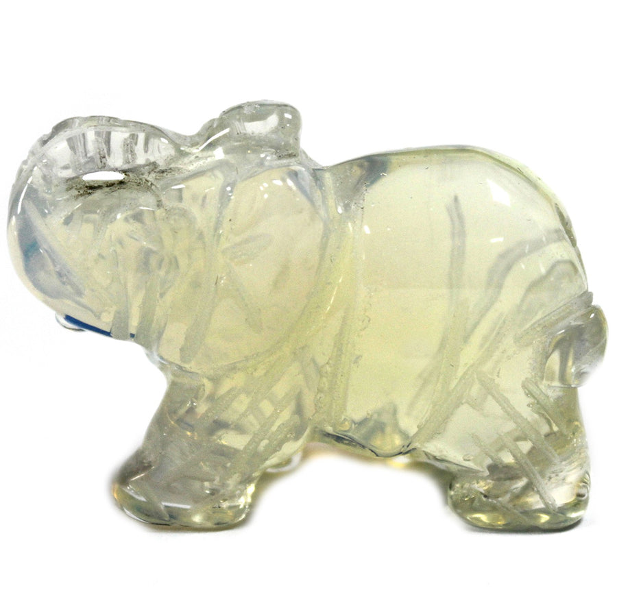 Handmade Elephant Carved Gemstone - Opalite