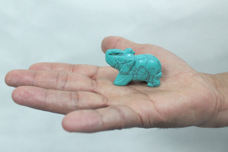 Handmade Elephant Carved Gemstone - Turquoise